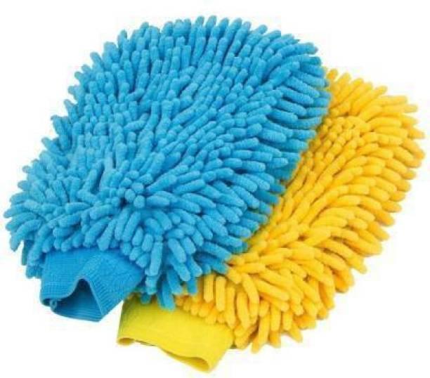 VINXY Microfiber Vehicle Washing Hand Glove (Pack Of 2) Wet and Dry Glove Set