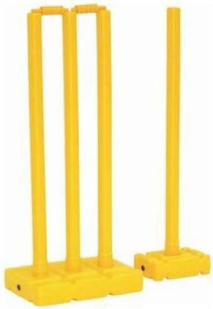 L'AVENIR SPORTS Quality Plastic Stump Set - 4 Wickets + 2 Base (1Big + 1Small) + 2 Bails