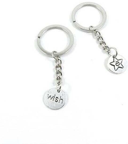 cutedigital 30 Pieces Keyring Key Ring V5Ws8 Wish Star Tag Keychain Automotive Car Door Key Tags Findings Charms Chains