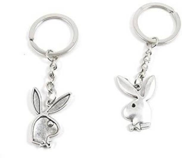 Beauty-Making 2 Pieces Keyring Keychain Keytag Key Ring Chain Tag Door Car Wholesale Jewelry Making Charms B8Vp3 Playboy Rabbit