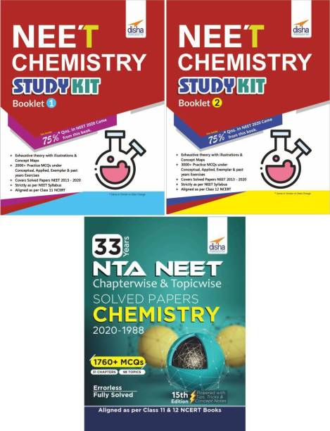 NEET Chemistry Study Kit Booklet 1 & 2 with 33 Years Solved Papers Past Questions