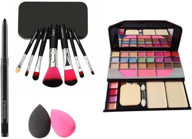 Bingeable BLACK Smudge Proof Kajal,Washable Makeup Sponge Beauty Blender Puff wit Set of 7 BLACK Makeup Brushes include storage box& All in One Best Makeup kit 6155 (Eyeshadow,Blusher,Compact,Lip Gloss