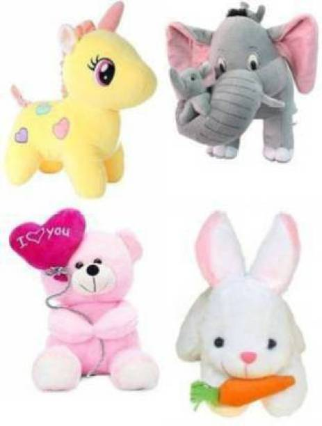 Shanshu Combo of 4 Super Soft Plush Rabbit, Unicorn, Balloon Teddy, Mother Elephant with her two childs Soft Stuffed for Kids/ gifts birthday and for special occasion - 26 cm  - 28 cm