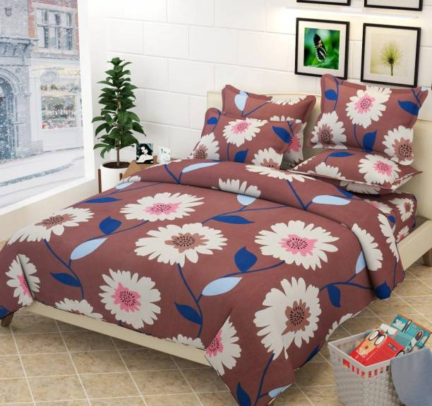 FASHION EXPLORERS 350 TC Cotton Double, Double Geometric Bedsheet