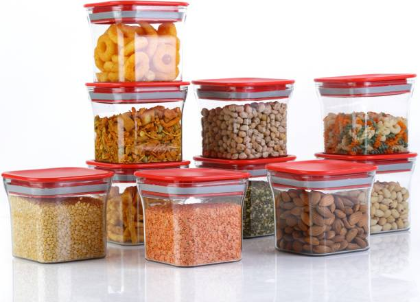 Shoptool New Premium Quality Unbreakable Airtight Transparent Jar(Quality Improved) / Grocery Container / Storage Container / Container sets / Storage Jar / Containers Combo / Masala Boxes / Freezer Safe Idle for Kitchen Storage Box / Container For Tea, Coffee, Sugar, Food, Grain, Rice  - 600 ml Plastic Grocery Container