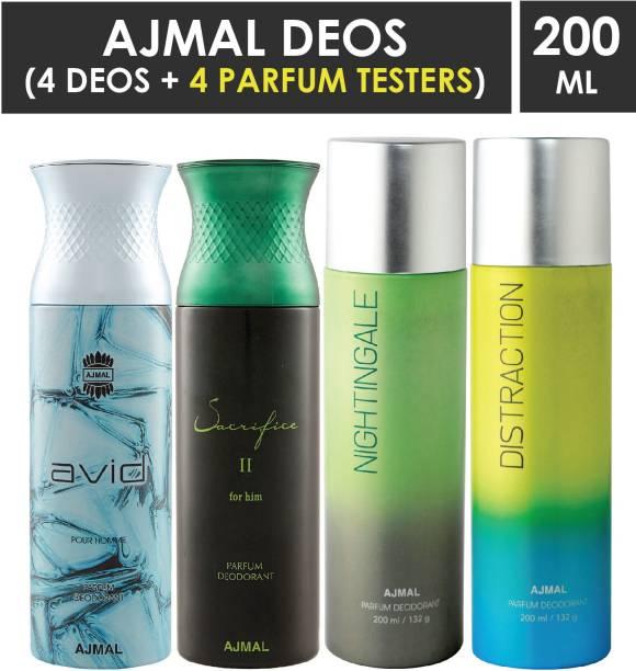 AJMAL 1 Avid Homme ,1 Sacrifice II ,1 Nightingale and 1 Distraction Deodorants each 200ML Pack of 4+4 Parfum Testers Deodorant Spray  -  For Men & Women