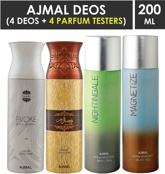 Ajmal 1 Evoke Silver Edition ,1 Wisal Dhahab ,1 Nightingale and 1 Magnetize Deodorants each 200ML Pack of 4+4 Parfum Testers
