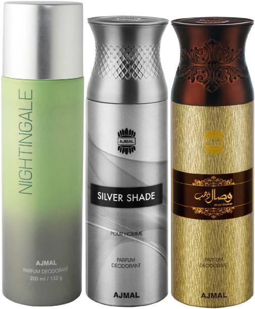 Ajmal 1 Nightingale , 1 Silver Shade and 1 Wisal Dhahab Deodorants each 200ML Pack of 3+2 Parfum Testers