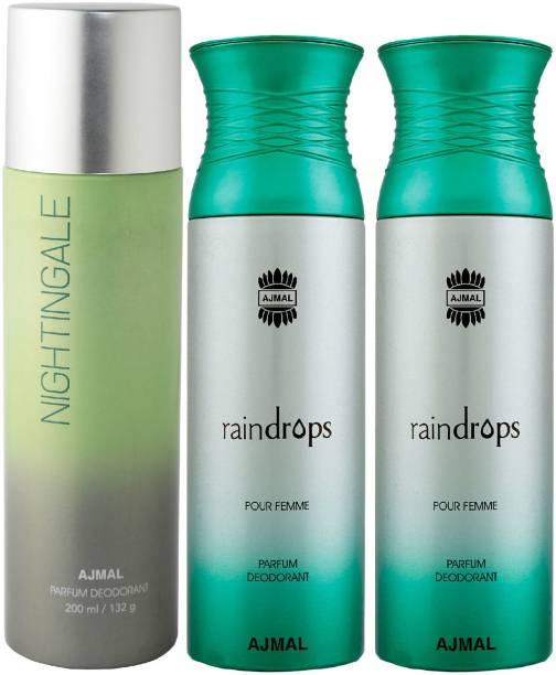 AJMAL 1 Nightingale and 2 Raindrops Deodorants for Unisex each 200ML Pack of 3+4 Parfum Testers Deodorant Spray  -  For Men & Women