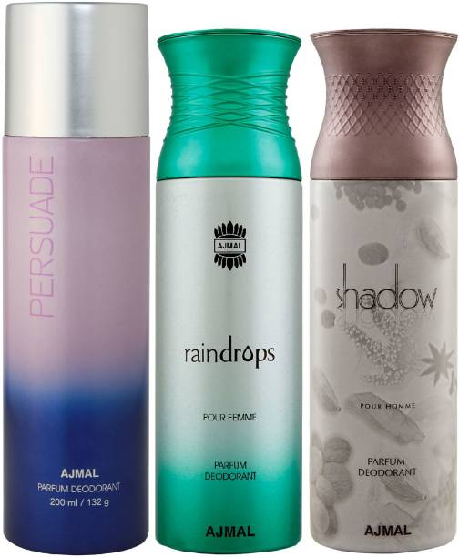 AJMAL 1 Persuade , 1 Raindrops and 1 Shadow Him Deodorants for Unisex each 200ML Pack of 3+4 Parfum Testers Deodorant Spray  -  For Men & Women