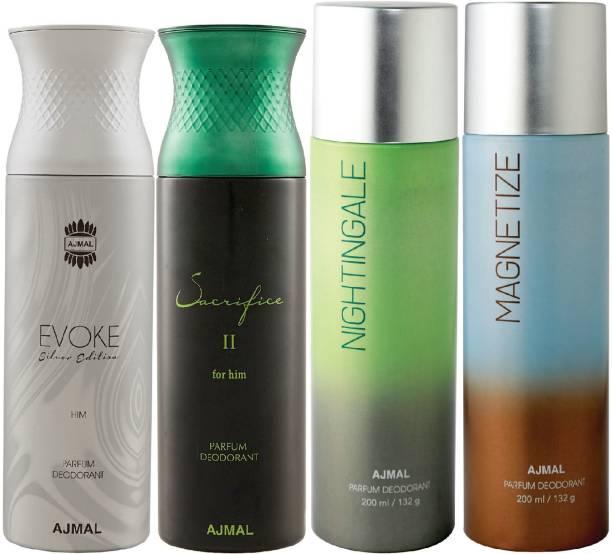 Ajmal 1 Evoke Silver Edition ,1 Sacrifice II ,1 Nightingale and 1 Magnetize Deodorants each 200ML Pack of 4+2 Parfum Testers