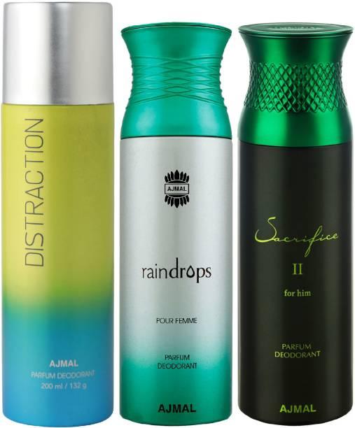 AJMAL 1 Distraction , 1 Raindrops and 1 Sacrifice II Deodorants for Unisex each 200ML Pack of 3+4 Parfum Testers Deodorant Spray  -  For Men & Women