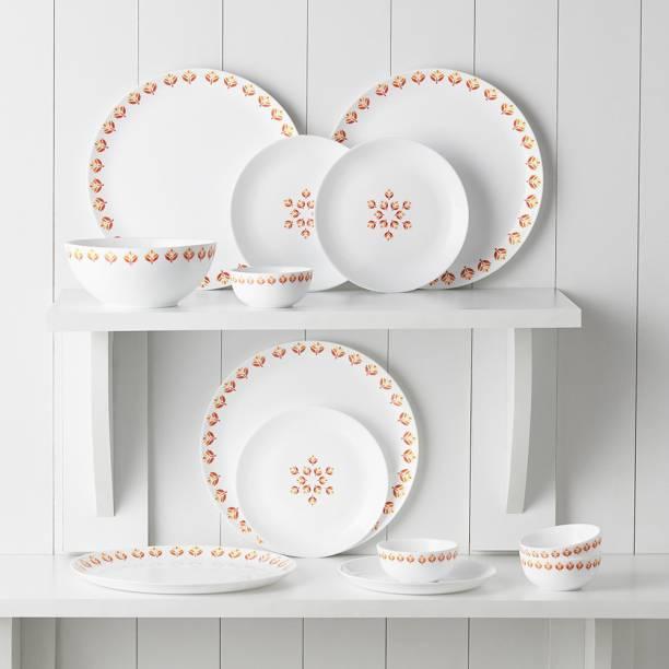 Larah by Borosil Pack of 13 Opalware Moon - Gardenia Dinner Set
