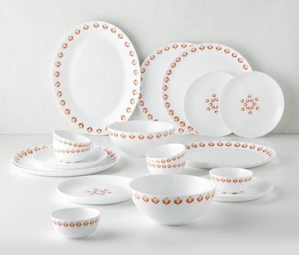 Larah by Borosil Pack of 21 Opalware Moon - Gardenia Dinner Set