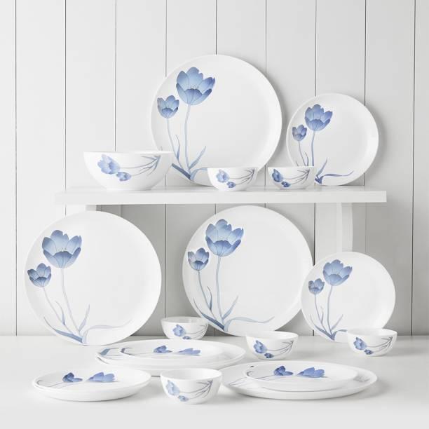 Larah by Borosil Pack of 19 Opalware Moon - Tulip Dinner Set