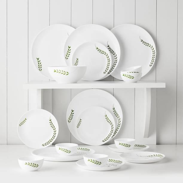 Larah by Borosil Pack of 19 Opalware Moon - Botanica Dinner Set