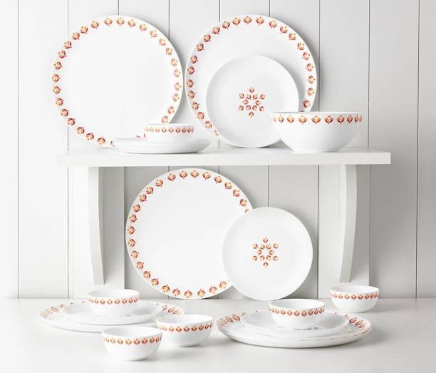 Larah by Borosil Pack of 19 Opalware Moon - Gardenia Dinner Set