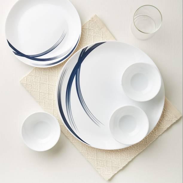 Larah by Borosil Pack of 19 Opalware Moon - Indigo Stella Dinner Set
