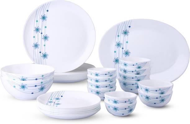 Larah by Borosil Pack of 27 Opalware Moon - Bluebell Dinner Set