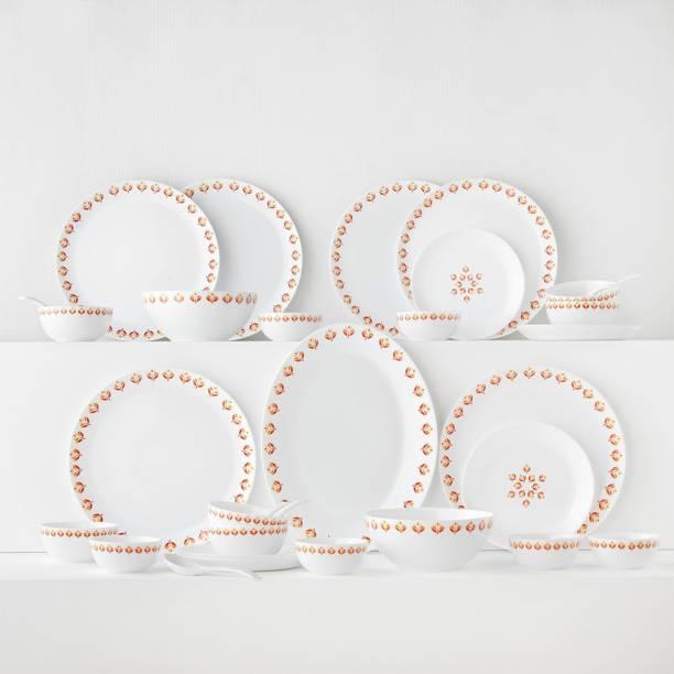 Larah by Borosil Pack of 33 Opalware Moon - Gardenia Dinner Set