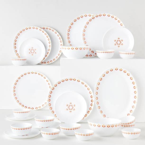 Larah by Borosil Pack of 27 Opalware Moon - Gardenia Dinner Set