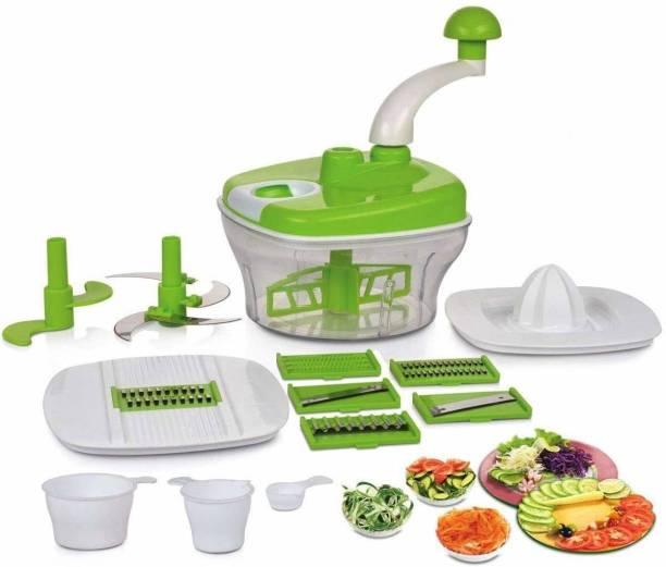 MEZIRE ® 10 in 1 Plastic Manual Food Processor,Dough Maker,Atta Maker,Vegetable Cutter,Slicer,Grater, Juicer, Vegetable Chopper For Kitchen (Green) #Made in India Plastic Detachable Dough Maker