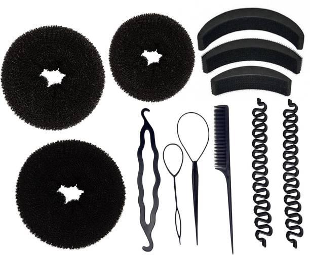 BELLA HARARO Hair Styling tools Hair Puff Up Maker Donut Magic Bun Topsy Tail Ponytail Holder Banana Bumpit-Pack of 12 Hair Accessory Set