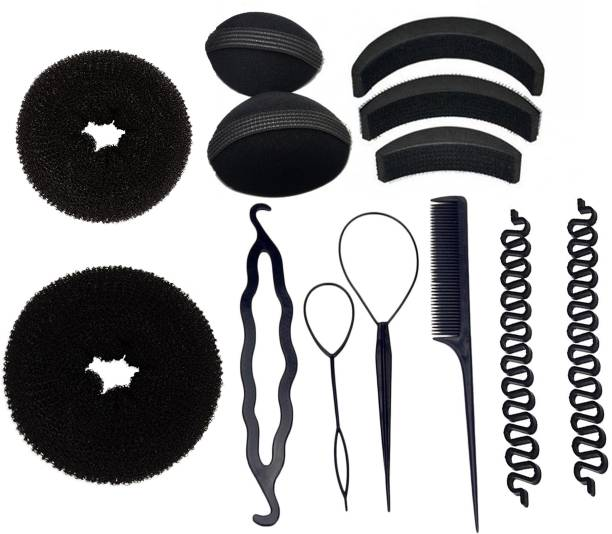BELLA HARARO Hair Styling Tools Bun Maker Combo Offer Black (Combo of 13 Pieces) Hair Accessory Set