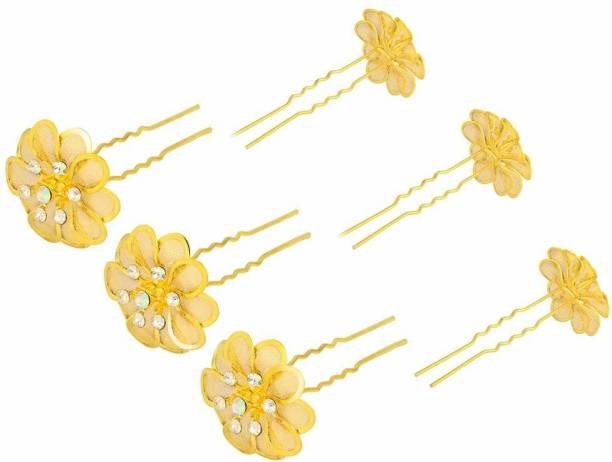 STRIPES 6Pcs Gold Hair Juda Bun Pins for Women Hair Pin