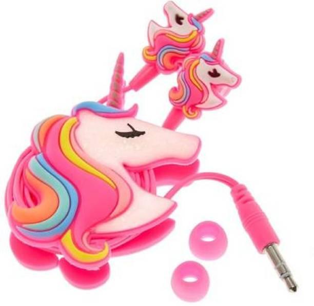 Rockjon rock Unicorn Cartoon Wired Earphones Stereo Headphones For KIDS Wired without Mic Headset