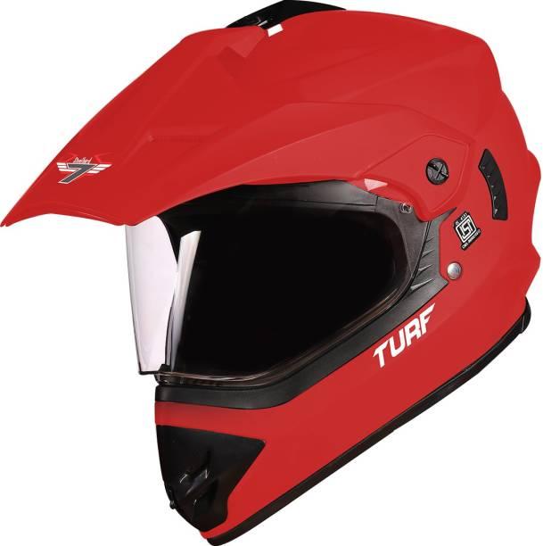 Steelbird Off Road TURF Motocross Helmet in Matt Sports Red, Aerodynamic Helmet for Man Motorbike Helmet
