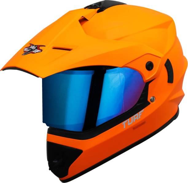 Steelbird Off Road TURF Motocross Helmet in Matt Fluo Orange with Extra Clear Visor Motorbike Helmet