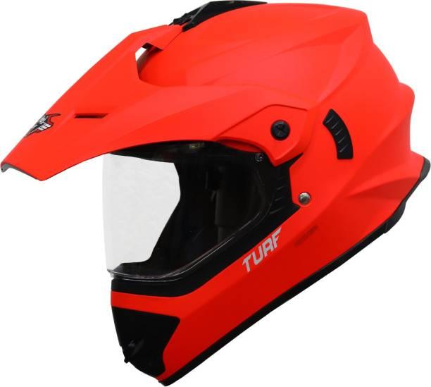 Steelbird Off Road Motocross Helmet in Matt Fluo Red Motorbike Helmet