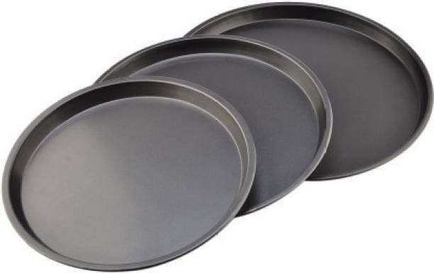 JB Kiara Textiles 3Pcs Set Carbon Steel Nonstick Kitchenware Baking Pan Round Pizza Pan Pizza Tray - Black Pizza Tray(3 Pizza Tray) Pizza Tray