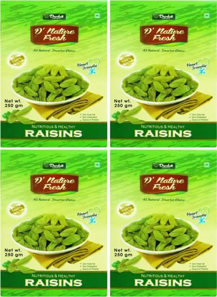D NATURE FRESH Green Raisins Kishmish 1kg ( Pack of 4 - 250g Each) Raisins
