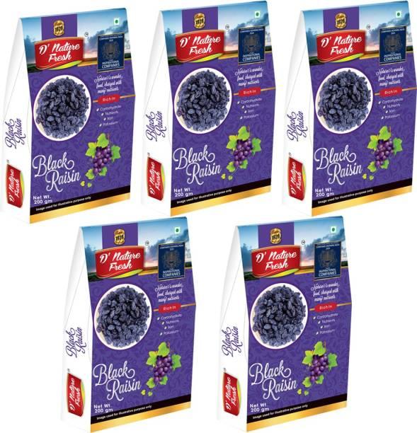 D NATURE FRESH Black Raisins Kishmish 1kg ( Pack of 5 - 200g Each) Raisins