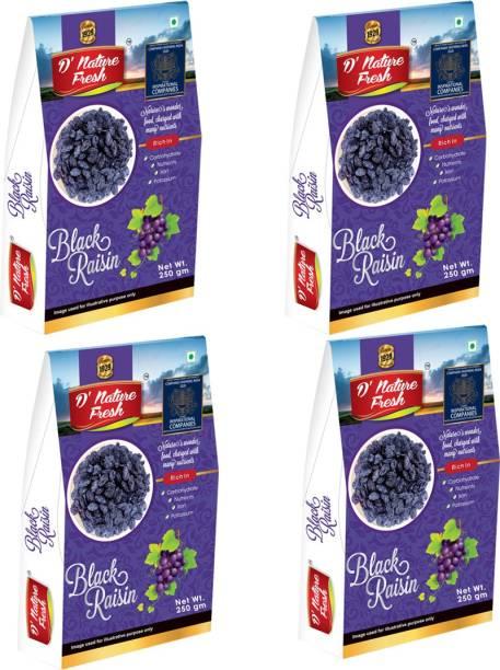 D NATURE FRESH Black Raisins Kishmish 1kg ( Pack of 4 -250g Each) Raisins
