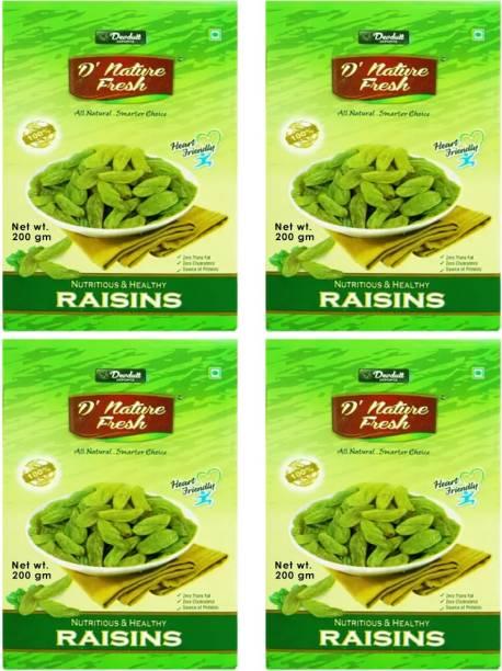 D NATURE FRESH Green Raisins Kishmish 800gm ( Pack of 4 - 200g Each) Raisins