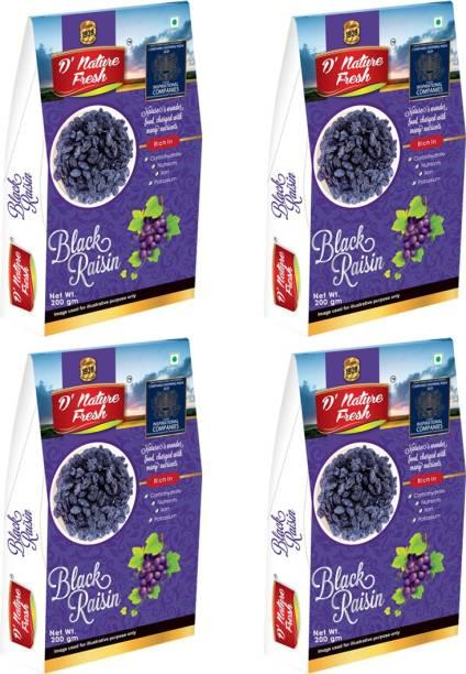 D NATURE FRESH Black Raisins Kishmish 800g ( Pack of 4 - 200g Each) Raisins