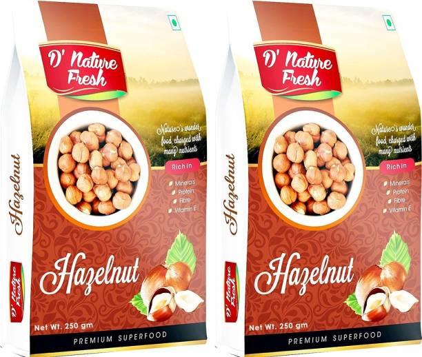 D NATURE FRESH Hazelnut 500g ( Pack of 2 - 250g Each) Hazelnuts