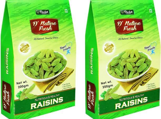 D NATURE FRESH Green Raisins Kishmish 400g ( Pack of 2 -200g Each) Raisins