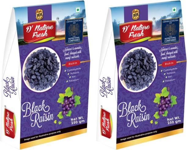 D NATURE FRESH Black Raisins Kishmish 500g ( Pack of 2 - 500g Each) Raisins