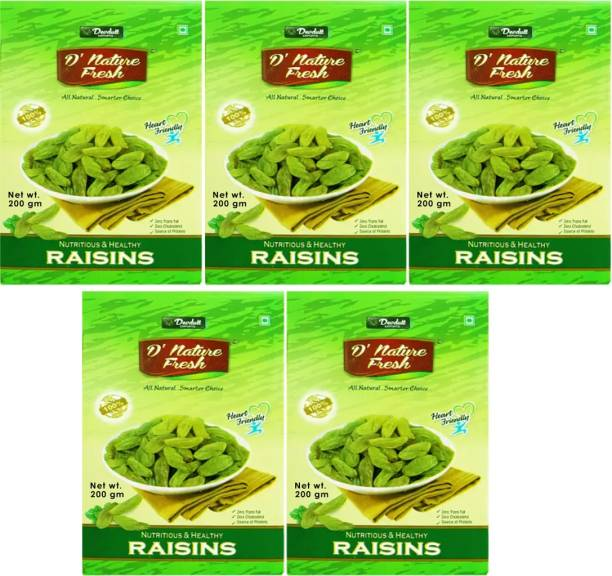 D NATURE FRESH Green Raisins Kishmish 1kg ( Pack of 5 -200g Each) Raisins