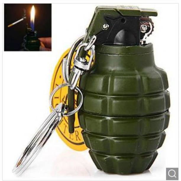 Explorer Military Fuze Grenade Metal Body Pocket Size Refillable Butane Gas Lighter With Key Ring Chain Beautiful Gifting Purpose For Cigarette Cigar Lovers Pocket Lighter