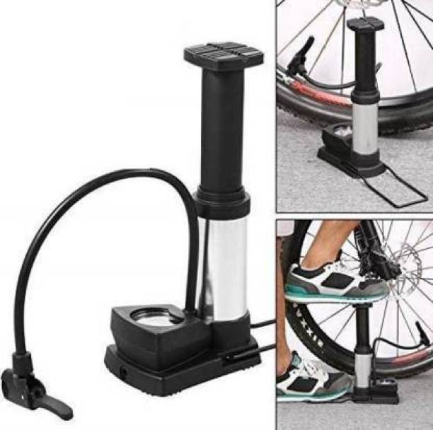 neev creation Foot Activated Floor Pump with Gauge Cycle Air Pump Mini Portable (Black) Ball, Car, Bicycle, Motorcycle, Football Pump, Volleyball Pump, Basketball Pump, Handball Pump, Motorcycle Pump