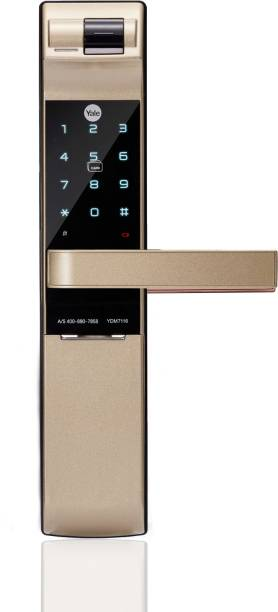 Yale YDM 7116 Gold - Fingerprint, RFID Card, Bluetooth, Pincode & Manual Key enabled (Wifi Optional) Smart Door Lock
