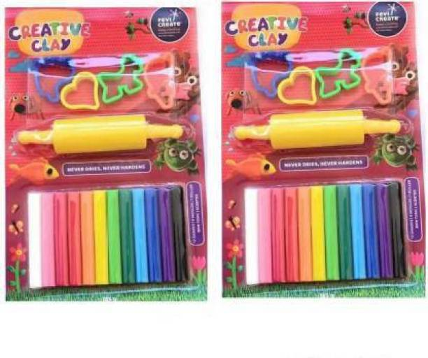 AMB Two Set Of Play And Learn Clay For Kids ( MULTICOLOR)
