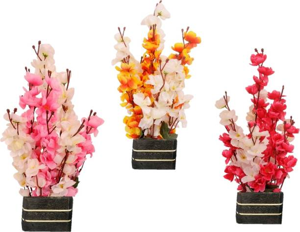 DecorOne Multicolor Orchids, Peach Blossom, Cherry Blossom Artificial Flower  with Pot