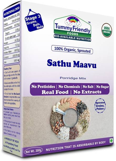 TummyFriendly Foods Certified USDA Organic Sprouted Sathu Maavu Porridge Mix |Made of Sprouted Ragi, Whole Grains, Pulses & Nuts | Rich in Protein & healthy-Fat For Baby Weight Gain| 200g Cereal