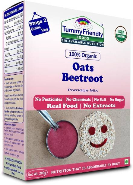 TummyFriendly Foods USDA Certified 100% Organic Oats, Beetroot Porridge Mix | Organic Baby Food for 6 Months Old | Rich in Beta-Glucan, Protein & Fibre| 200g Cereal